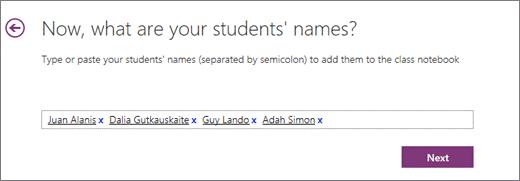 Thêm tên sinh viên trong sổ ghi chép lớp học OneNote.